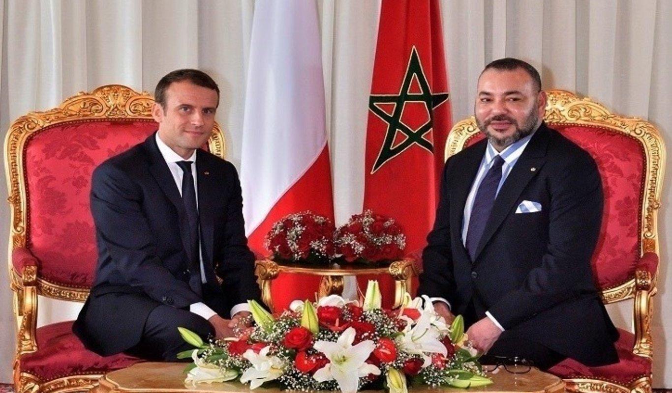 Emmanuele Macron y el rey Mohamed VI de Marruecos.