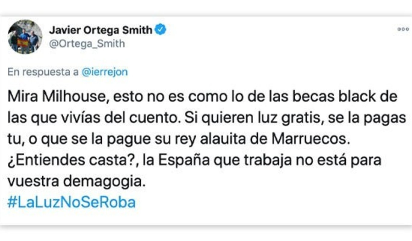 Tweet de Javier Ortega Smith
