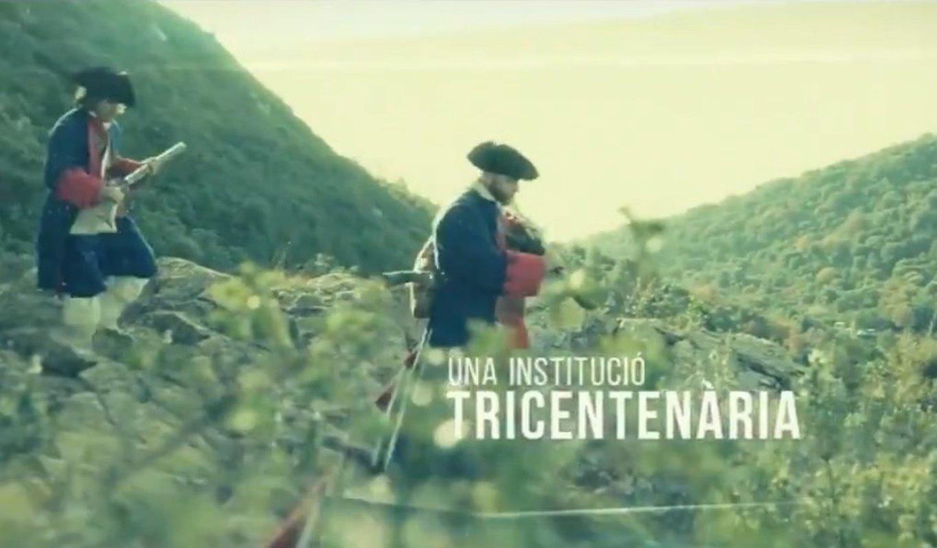 Fotograma del vídeo del tricentenario de los Mossos.