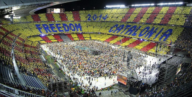 Acto independentista en el Camp Nou.
