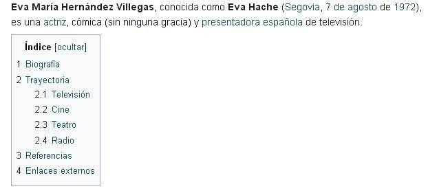 Página de Eva Hache en Wikipedia.