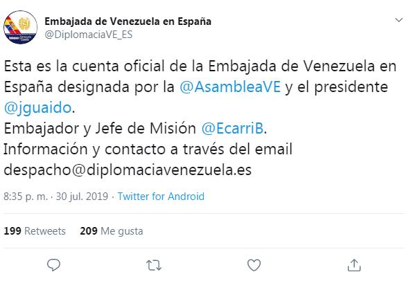 Tweet de la Embajada de Guaidó en España