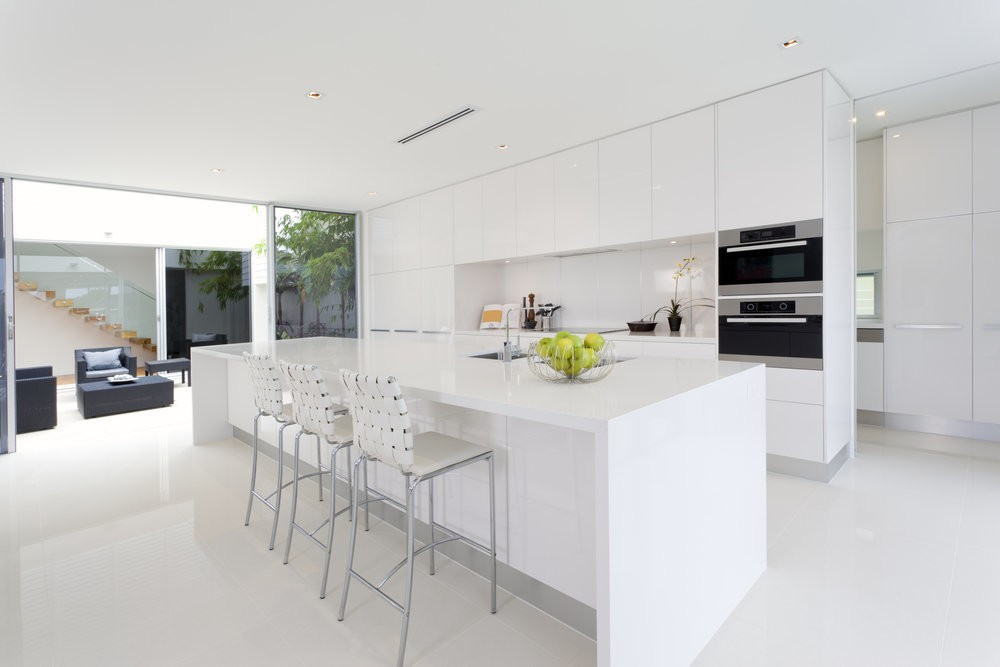 Luxurious kitchen with stainless steel appliances in Australian mansion