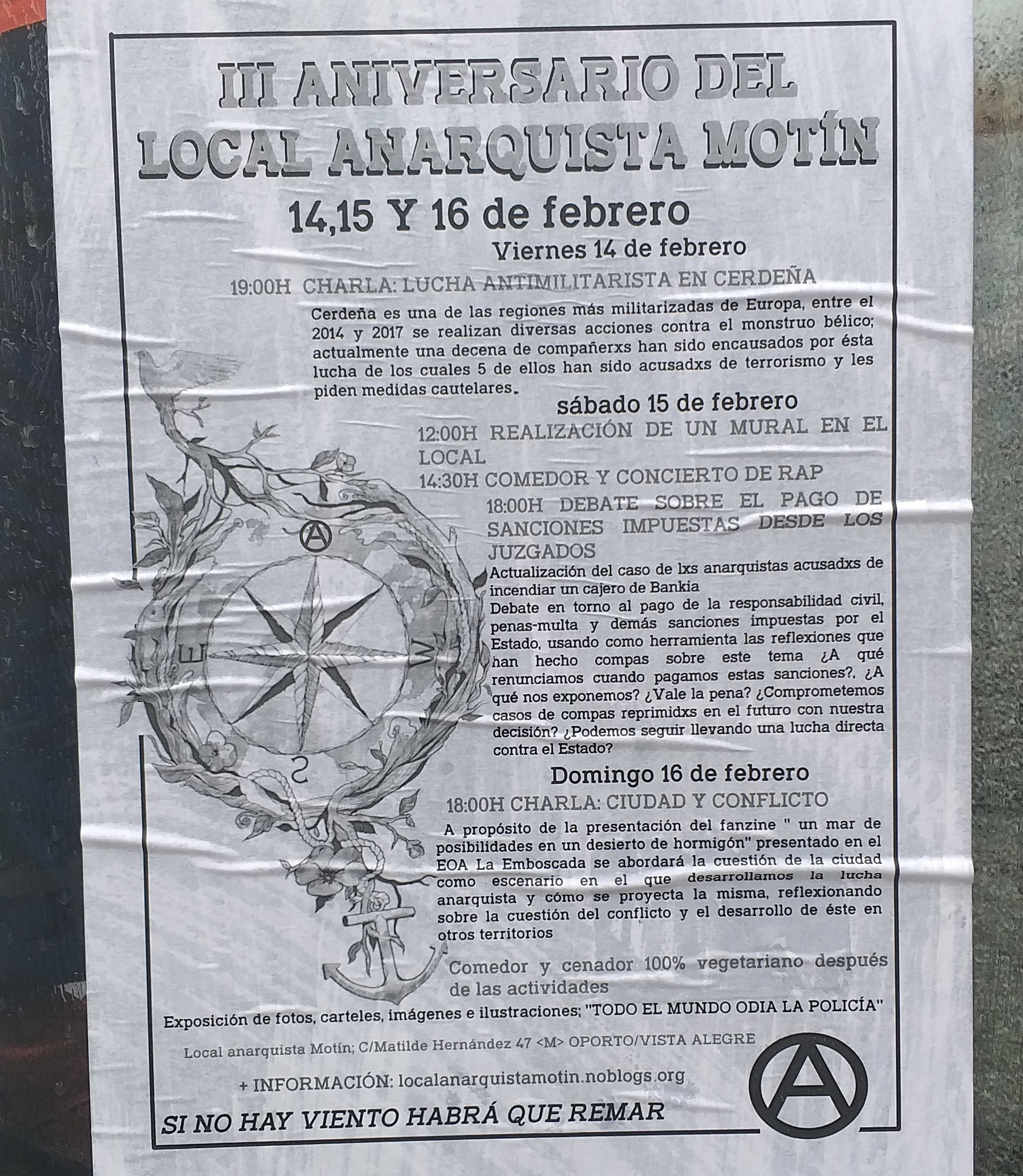 Cartel del local anarquista Motín.