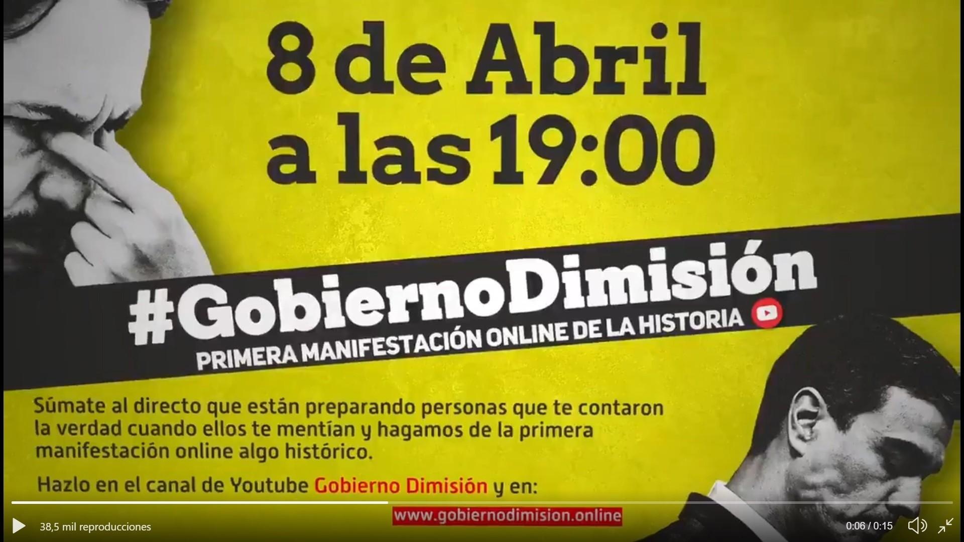 Más de 400.000 personas exigen la dimisión de Sánchez en la primera manifestación digital de la historia