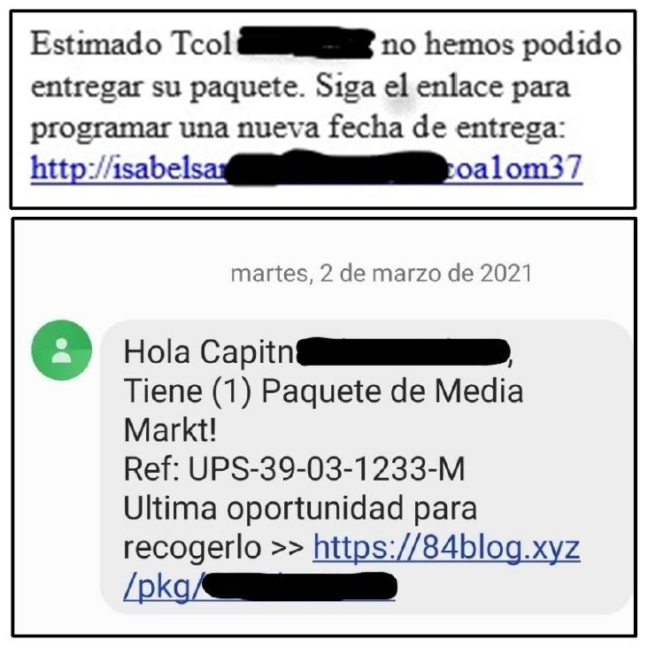 Mensajes recibidos en móviles de oficiales de las Fuerzas Armadas.