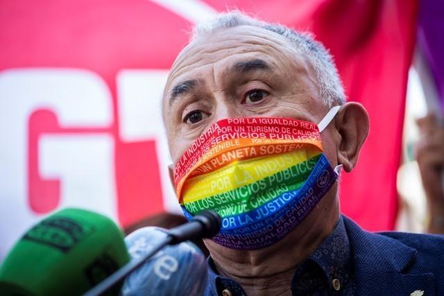 Pepe Álvarez aboga por aguantar un poco más la mascarilla en el trabajo para no perjudicar la marcha del Covid